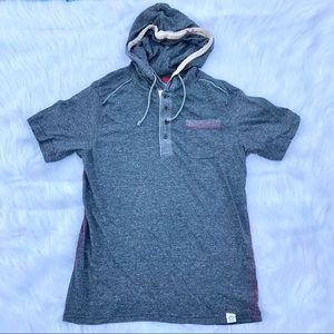 Free Planet gray short sleeve hooded T-shirt